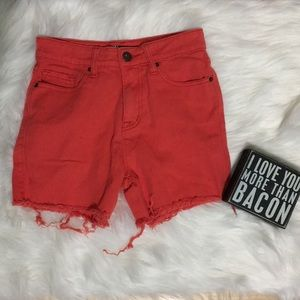 {BDG} coral cut off shorts